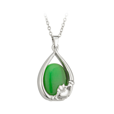 CLADDAGH GREEN CAT EYE PENDANT
