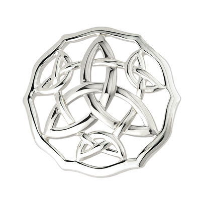 RHODIUM CELTIC TRINITY BROOCH