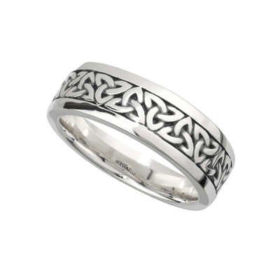 SILVER OXIDISED GENTS TRINITY RING