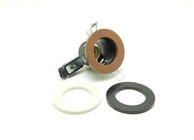 Eclipse GZPVC GU10 PVC Downlight Black Brown & White Ring