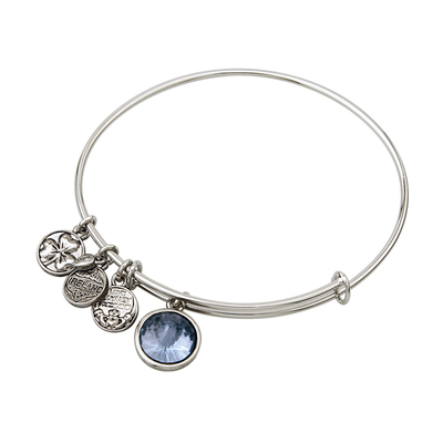 RHODIUM BIRTHSTONE CHARM BANGLE - DECEMBER