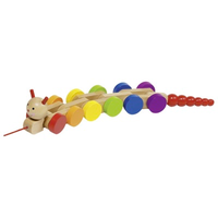 Colourful wooden pull-along caterpillar for age 1+