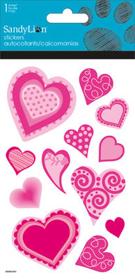 Hearts with Glitter sticker (Priced in singles, order in multiples of 6)