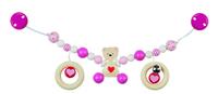 Pram Chain Bear Pink With Heart