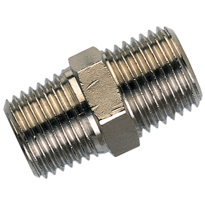 BSP Straight Hex Nipple Nickle Plated