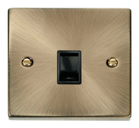 Click Deco Victorian Antique Brass with Black Insert Single RJ11 Socket | LV0101.0024