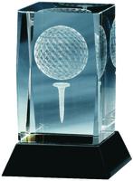 12cm Crystal 3D Golf Block (Plain Box)