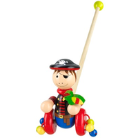 wooden push along pirate with parrot