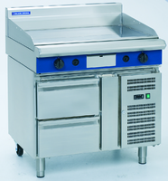 Blue Seal Evolution Series Heavy Duty Griddle, gas, 900 mm, 20 mm thick smooth mild steel plate, thermostatic control, stainless steel grease drawer, splashback, refrigerated base with (2) 1/1 GN drawers, adjustable feet with rear castors stainless steel