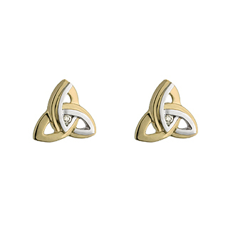 9CT TWO TONE DIAMOND TRINITY STUD EARRING