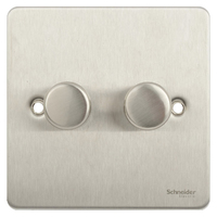 Switch Ultimate 2 Gang 2 Way LED Dimmer 100W/VA Stainless Steel