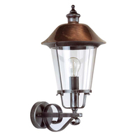 ANSELL Augusta E27 Wall Lantern Black Silver/Copper