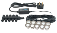SAXBY 10-SET WHITE LED DECK LIGHT KIT IP67 (CUT-OUT 22MM OVERALL 30MM)  3MTR'S OF CABLE WITH EACH LIGHT