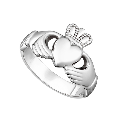 GENTS STERLING SILVER HEAVY CLADDAGH RING