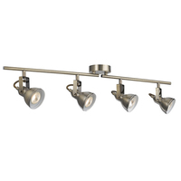 Focus Antique Brass 4 Light Ceiling Spotlight With Adjustable Bar