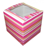 PINK STRIPE 1 CUP CAKE BOX