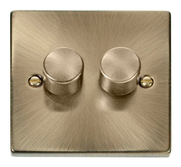 Click Deco Victorian Antique Brass 2 Gang 2 Way Dimmer | LV0101.0012