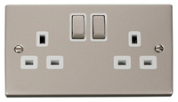 Click Deco Victorian Pearl Nickel with White Insert  Twin switched Socket | LV0101.0133
