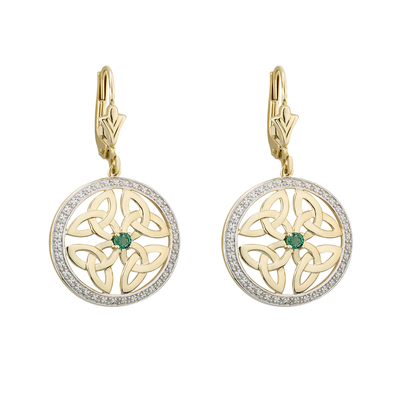9K EMERALD CELTIC TRINITY CIRCLE EARRINGS