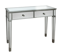 Console Table Mirrored 2 Drawer Champagne Brass Knobs