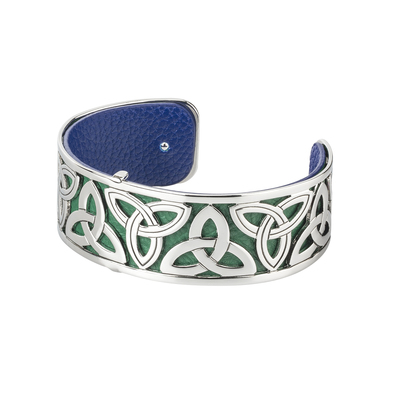 RHODIUM PLATED LEATHER TRINITY CUFF BANGLE
