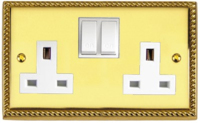 BRASS HERITAGE SOCKET SWITCHED 13A 2 GANG