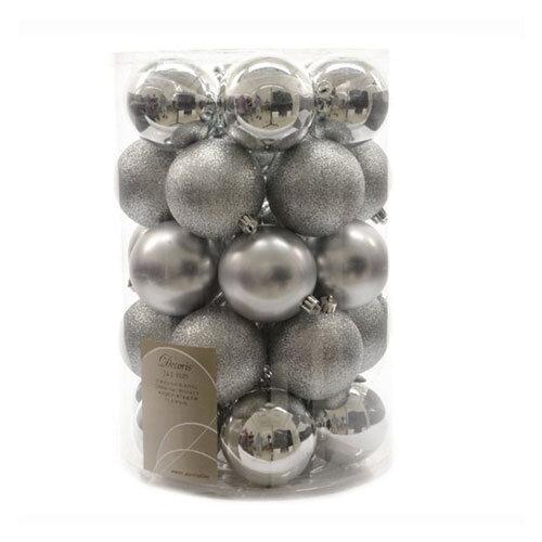 Shatterproof Baubles 34 Pack - Silver