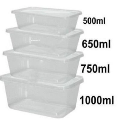 Plastic tubs container with lid 500ml X2