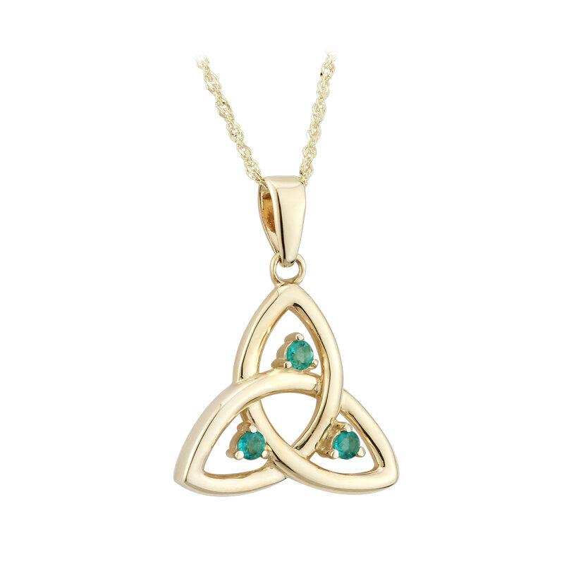 10k gold emerald trinity knot pendant s45717 from Solvar