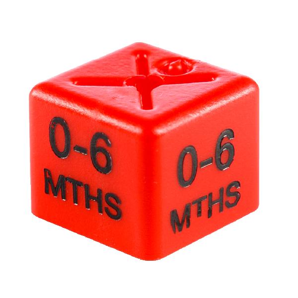 SHOPWORX CUBEX 'Age 0-6m' Size cubes - Red (Pack 50)
