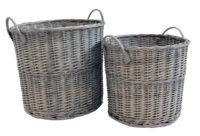 Grey Wicker Rnd Basket Set Of 2