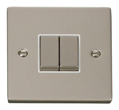 Click Deco Victorian Pearl Nickel with White Insert 2 Gang 2 Way 'Ingot' Switch   LV0101.0125
