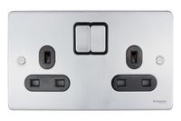 Schneider Ultimate Low Profile 2gang socket Brushed Chrome with Black Insert | LV0701.0028