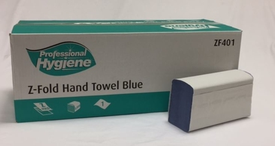 Z-Fold Hand Towels. Blue, 1 Ply
