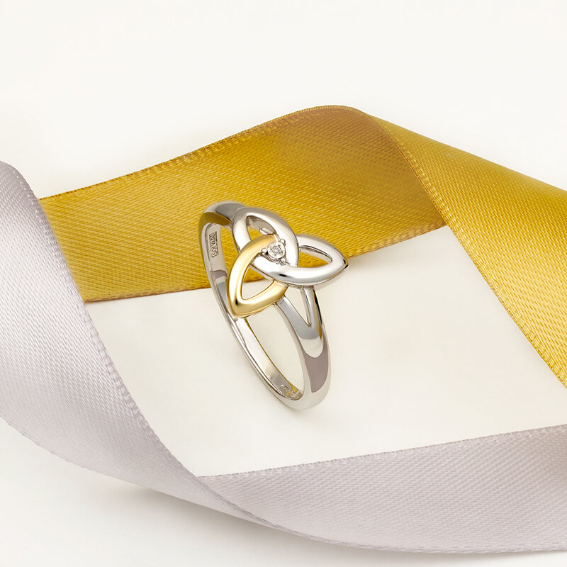 styled image of Solvar gold and silver trinity knot ring S2977