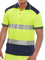 Hi-Visibility Yellow/Navy Two Tone Polo Shirt