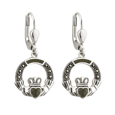 sterling silver marcasite and connemara marble claddagh drop earrings s33558 from Solvar
