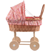 Toy wicker doll's pram with floral bedding