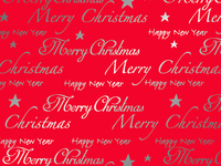 50CM X 100M RED WITH SILVER MERRY XMAS METTAL