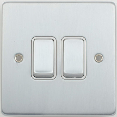 Schneider Ultimate Low Profile 2gang switch Brushed Chrome with White Insert   LV0701.0002