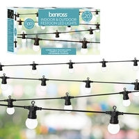20 WHITE RETRO  CONNECTABLE BULB FESTOON STRING LIGHT