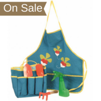 Children's Gardening Set with apron, sun hat, and gardening tools.