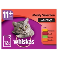 Whiskas Pouches - 11+ Meat Selection Gravy 100g 12-Pack x 4