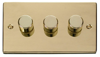 Click Deco Victorian Polished Brass 3 Gang 2 Way Dimmer  | LV0101.1811