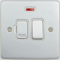 Schneider Ultimate Low Profile Fused Spur switched with neon Brushed Chrome with White Insert | LV0701.0013