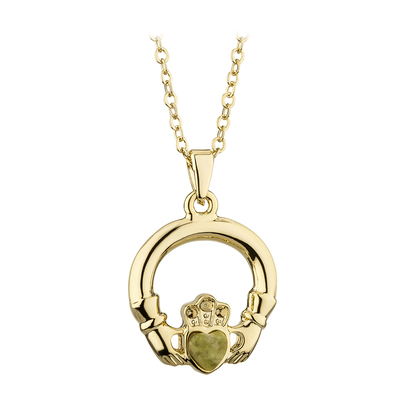 GOLD PLATED  CONNEMARA MARBLE CLADDAGH PENDANT