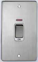DETA Flat Plate Tall cooker switch with neon Satin Chrome with White Insert | LV0201.0194
