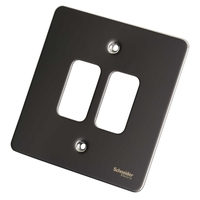Switch Ultimate 2 Gang Flat Plate Black Nickel