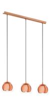 EGLO Rocamar Copper and Glass Triple Pendant IP20 | LV1902.0092