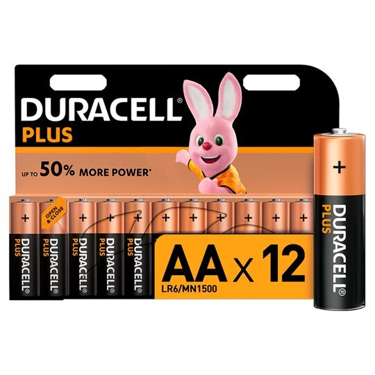Duracell Plus Power Batteries AA ( Pack 12 ) MN1500+PWRP12